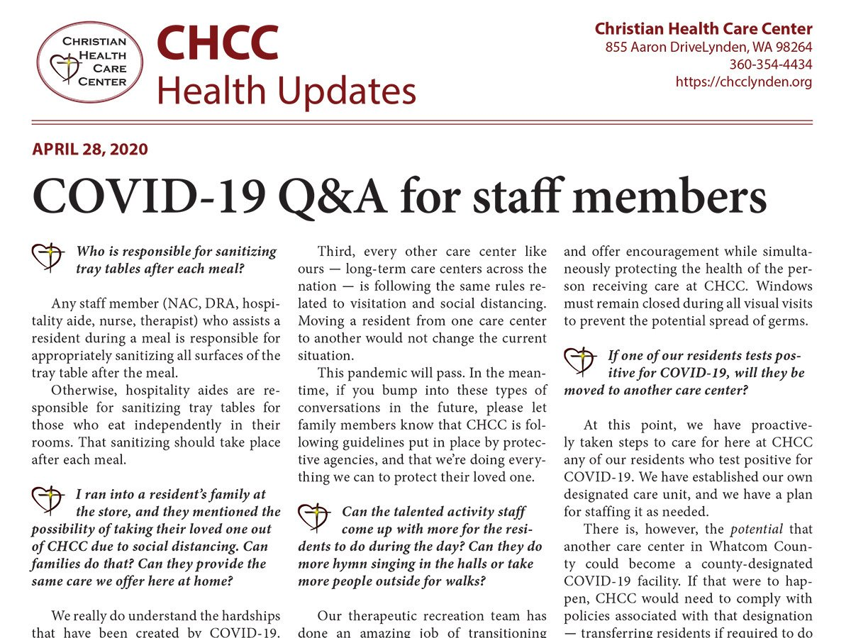 Printable Q&A flyers to answer common staff questions