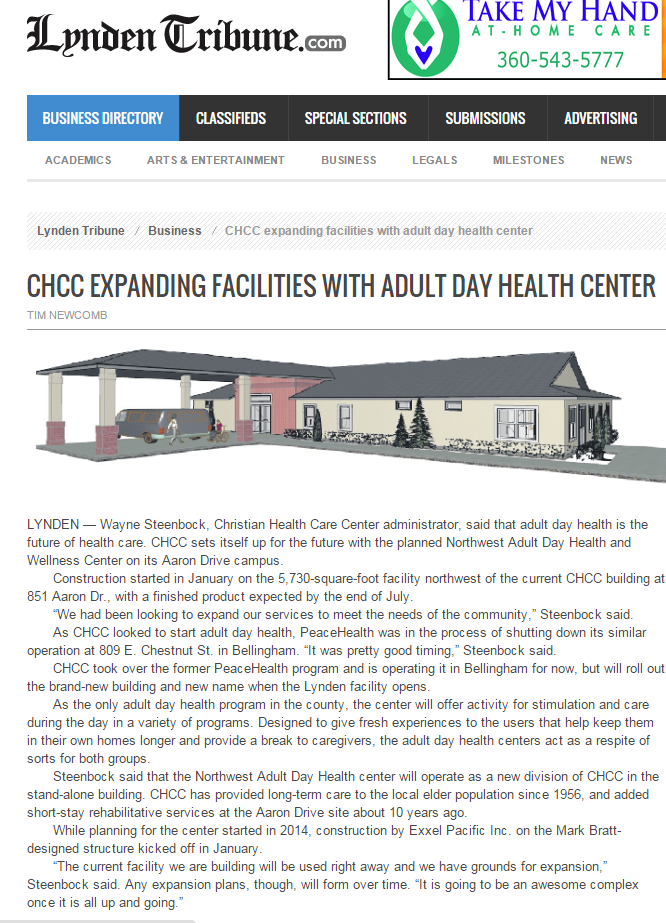 Christian Health Care Center expands into adult day health market in Lynden