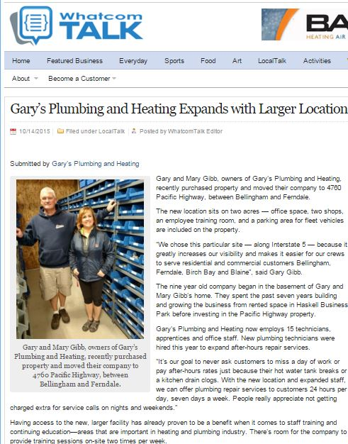 Gary's Plumbing & Heating expands with larger location