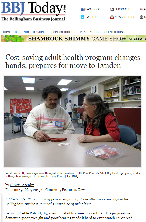 Northwest Adult Day Health & Wellness Center featured in Bellingham Business Journal