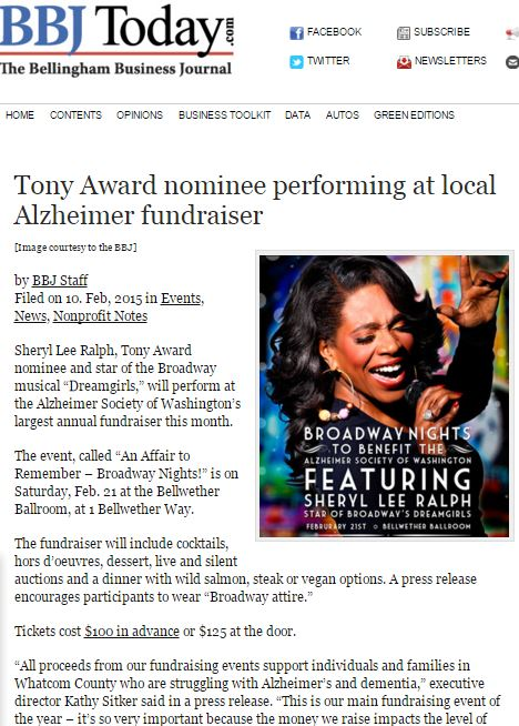Tony Award nominee performing at local Alzheimer fundraiser