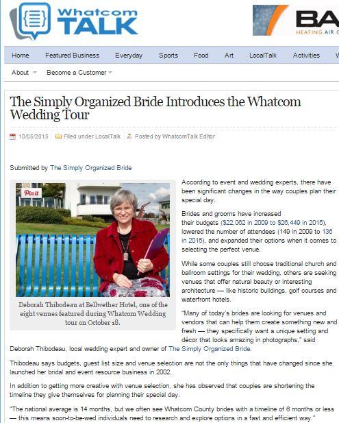 The Simply Organized Bride introduces the Whatcom Wedding Tour