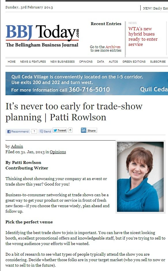 Top trade show booth tips for 2013, by Patti Rowlson