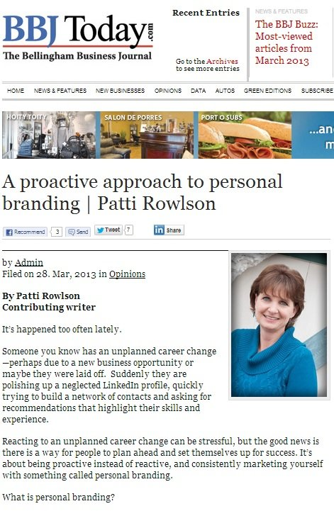 A proactive approach to personal branding by Patti Rowlson, PR Consulting, Bellingham WA