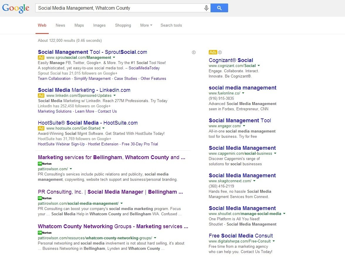 Social Media Management, Whatcom County - May 2014
