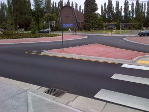 Pedestrian and handicap ramps, pervious concrete installation in Bellingham WA