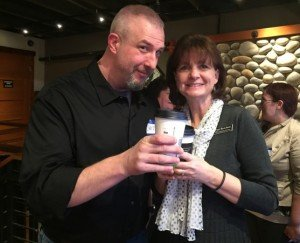 Catching Up in Real Life - PR Consulting, Bellingham WA CATCHING UP IN REAL LIFE: Patti and independent IT professional Chris Powell, of Bellingham, at a recent event.