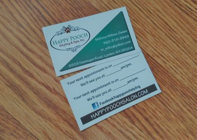 Appointment card for dog grooming