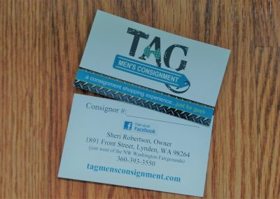 Business card for consignment retailer