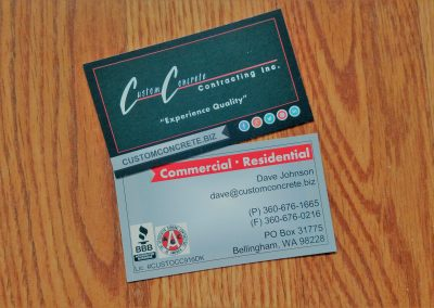 Business card for construction industry