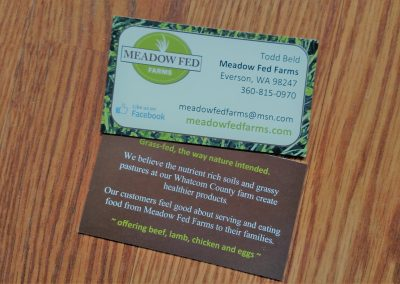 Business card for local farm