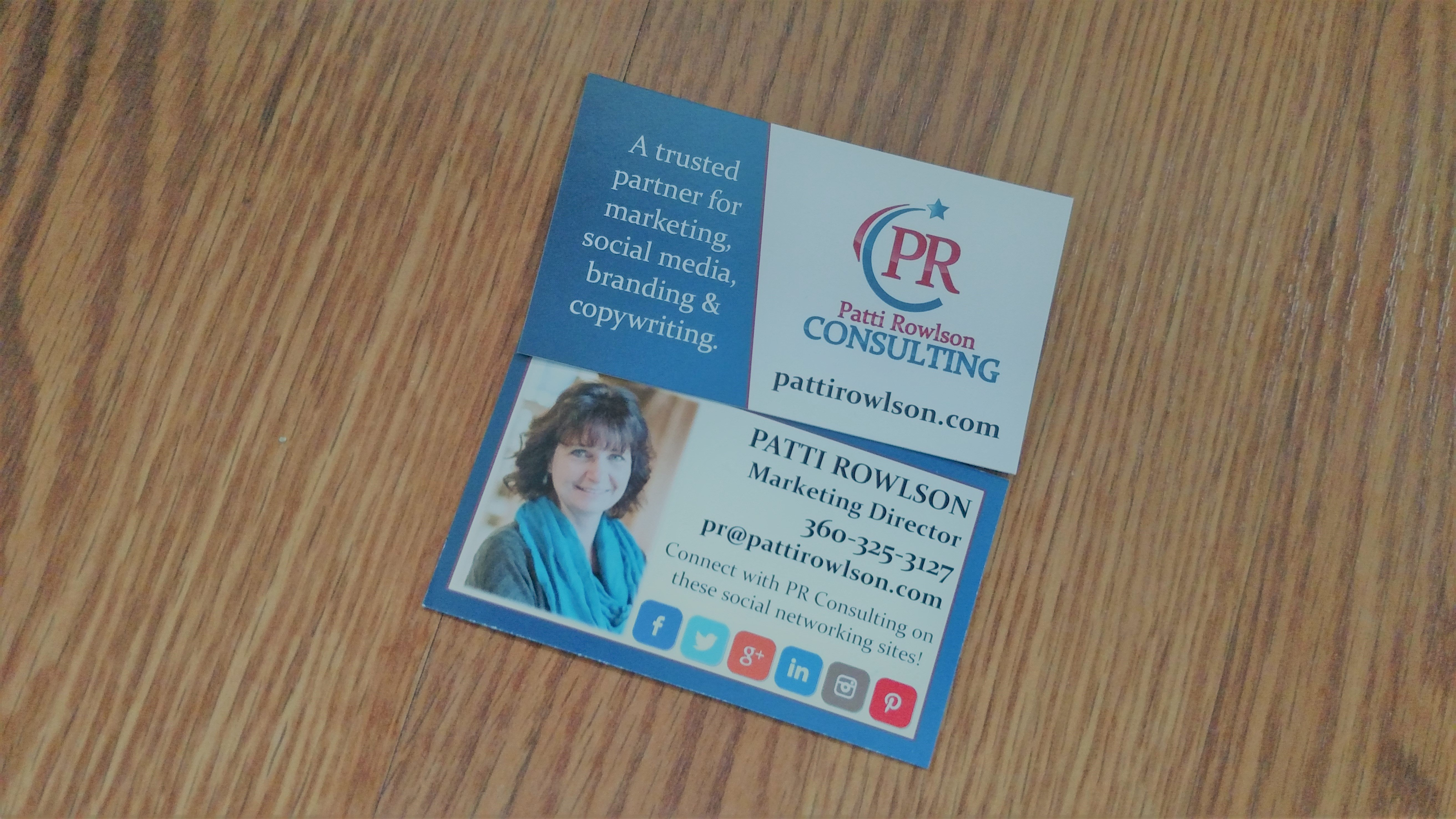 graphic design pr consulting news business card for marketing firm