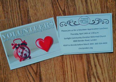Postcard invitation for volunteer appreciation