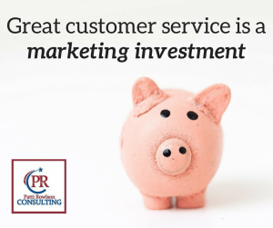 "A piggy bank stands alone against a white background, under the words ""great customer service is a marketing investment."""